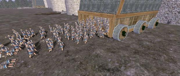 Солдаты заходят в осадную башню